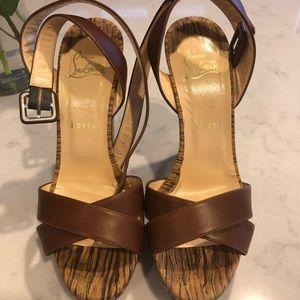 Christian Louboutin Paris, cork bottom sandal.